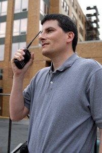 guy on two way radio